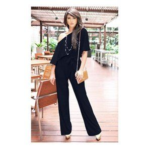 Koh Koh Navy Off Shoulder Jumpsuit